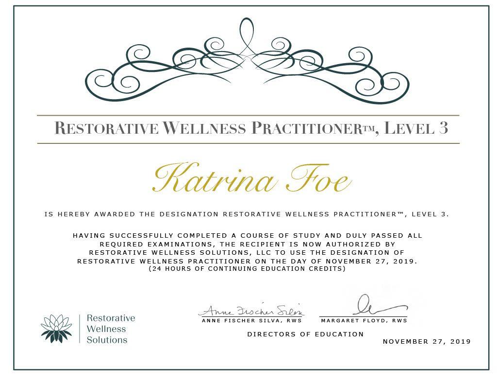 Katrina Foe level 3 certificate1024_1