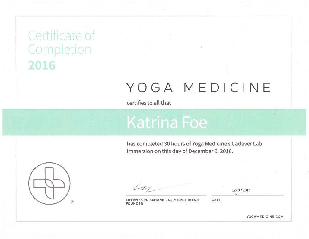 Katrina Foe's - cadaver yoga medicine