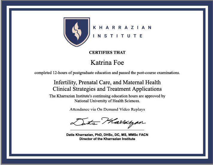 KI Infertility cert