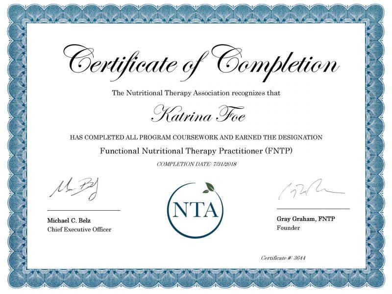 K.Foe FNTP Certificate of Completion - NTA